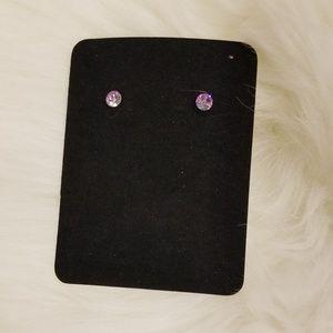Small Round Purple Stud Earrings